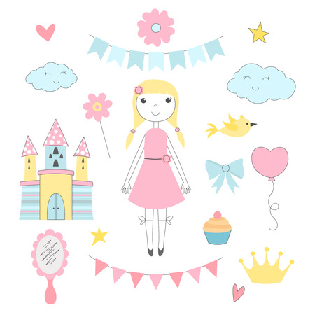 Hand drawn pictures for kids. Princess with her fairy tale castle Illustration