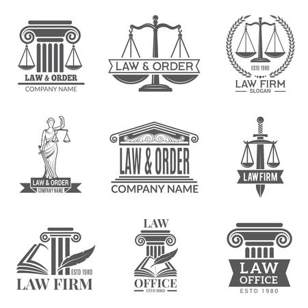Gesetz und gesetzliche Kennzeichnungen. Gesetzbuch, Richterhammer und andere Unternehmenssymbole der Rechtsprechung. Schwarze Etiketten und Abzeichen von rechtlichen Hinweisen