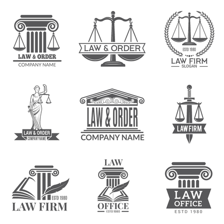 Law and legal labels. Legal code, judge hammer and other corporate symbols of jurisprudence. Black labels and badges of legal notes Illustration