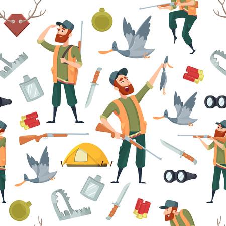 Patrón de cazadores de patos. Fondo transparente con dibujos animados y símbolos de caza. Patrón de cazador y pato, ilustración de animal de caza