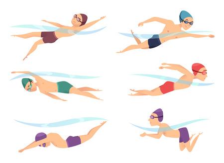 Nuotatori in varie pose. I personaggi sportivi dei cartoni animati in azione di sondaggio posano gattonare, rana e farfalla, illustrazione vettoriale
