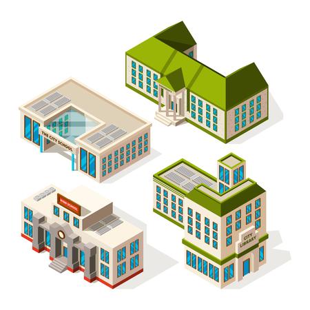 School buildings. Isometric 3d pictures of school or institute buildings