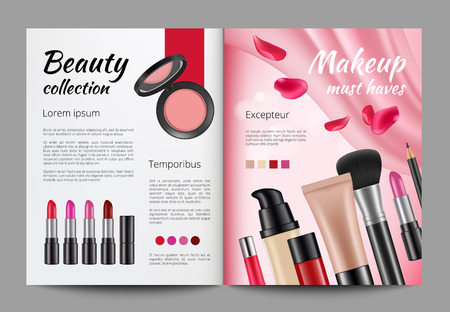 Advertising cosmetics in magazine. Design template of women magazine. Magazine template with product beauty. Vector illustration