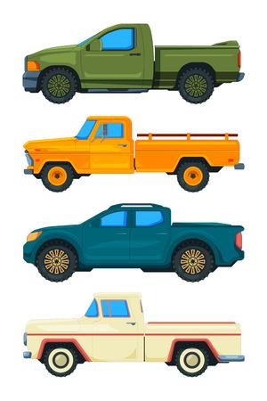 Pickup truck. Vector transport. Illustrations of automobiles. Automobile truck, transport pickup transportation
