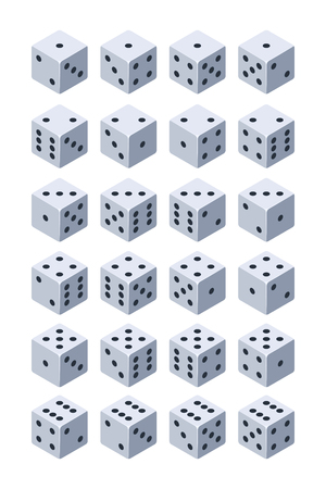 Dice for play. Various isometric 3d pictures of dice for games. Dice cube for casino play, gambling and fortune. Vector illustration