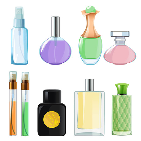 Woman perfumes. Glass bottles of perfume. Vector aroma container, beauty spray illustration collection