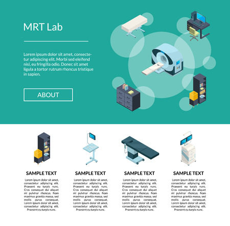 Vector isometric hospital icons landing page template illustration. Medical clinic isometric page, healthcare mrt lab webpage Illustration