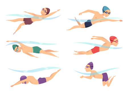 Nadadores en varias poses. Personajes de dibujos animados deportivos en acción electoral plantean rastreo, braza y mariposa, ilustración vectorial