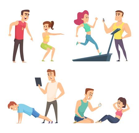 Entrenamiento de gimnasio. Conjunto de personajes deportivos de dibujos animados. Ejercicio de entrenamiento de vector, instructor entrenador ilustración deportiva