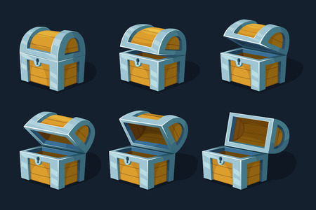 Various key frames animation of wooden chest or box. Vector cartoon pictures wood ancient box closed illustration