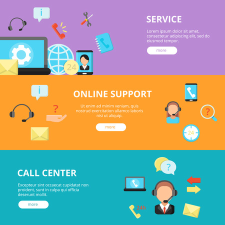 Banners set of call center support. Horizontal banners template with online support concept pictures Stock fotó