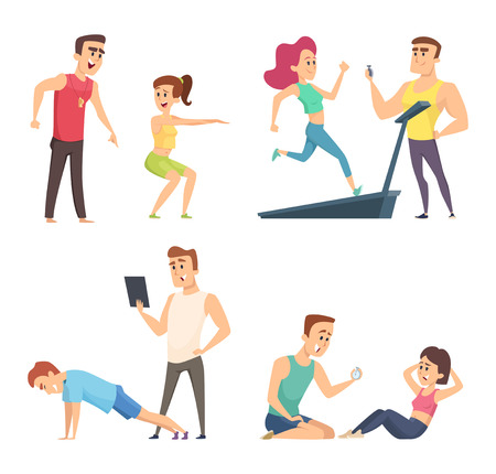 Gym training. Set of cartoon sport characters. Vector training exercise, instructor trainer sporty illustration Vetores