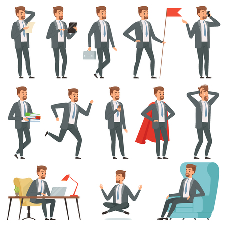 Characters of businessman. Set of businessman in various action poses