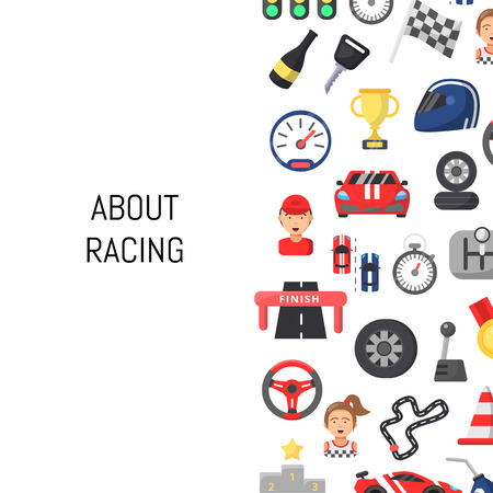 Vector flat car racing icons background with place for text illustration Ilustração