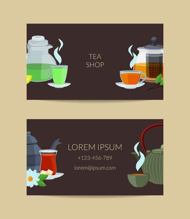 Vector cartoon tea kettles and cups business card template for tea shop illustration Vectores