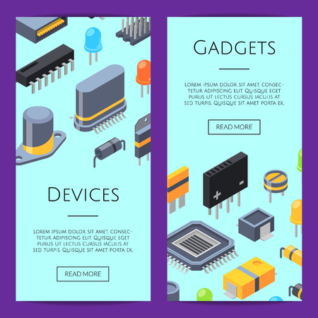 Vector isometric microchips and electronic parts icons web banner templates illustration