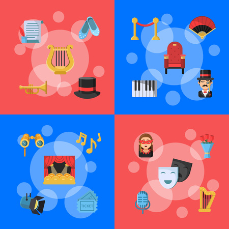 Web banner of set vector flat theatre icons infographic concept illustration Illustration