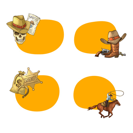 Vector hand drawn wild west cowboy stickers