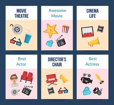 Vector colored flat cinema icons card of set with place for text illustration