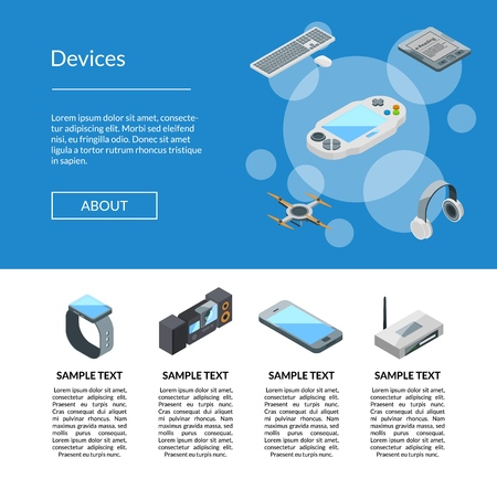 Vector isometric gadgets icons landing page template website with text info illustration