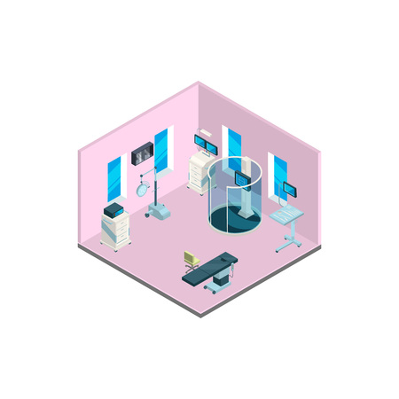 Vector isometric hospital interior with furniture and medical equipment illustration isolated on white