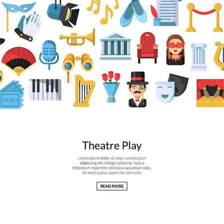 Vector flat theatre icons background with place for text illustration. Theatr play web banner page