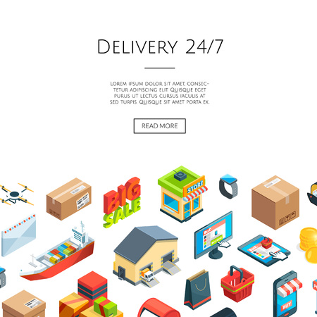 Vector isometric logistics and delivery icons background with place for text illustration Illustration