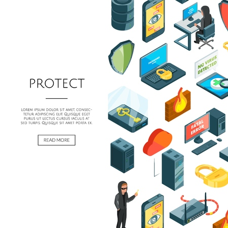 Vector isometric data and computer safety icons background with place for text illustration Archivio Fotografico