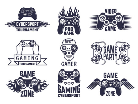 Gaming logo set. Video games and cyber sport labels. Gamer emblem logo, sport cyber, video gaming, vector illustration Vectores