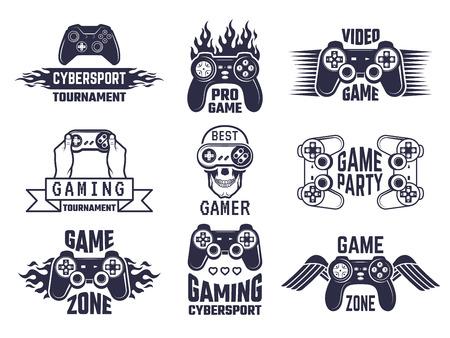 Gaming logo set. Video games and cyber sport labels. Gamer emblem logo, sport cyber, video gaming, vector illustration Ilustração