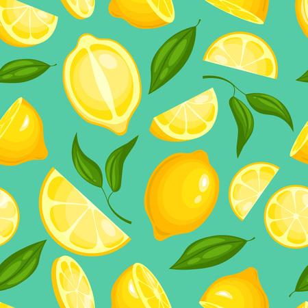 Lemon pattern. Lemonade exotic yellow juicy fruit with leaves illustration or wallpaper vector seamless background. Lemon citrus fresh, fruit juicy pattern