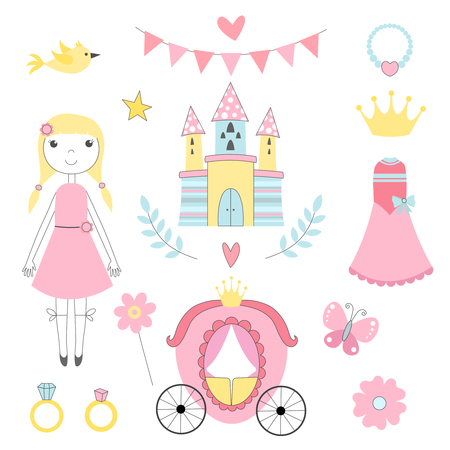 Fairy tale pictures of princess and other magician tools. Castle and princess, fairy tale coach and ring. Vector illustration Illustration