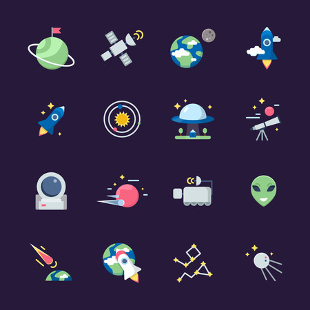Space flat icons. Telescope satellite spaceship earth sun and planets views from observatory vector illustrations. Earth and spaceship, planet and telescope, rocket shuttle and ufo