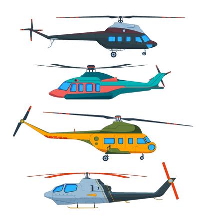 Aviation d'hélicoptère. Caricature d'hélicoptères. Transport Avia isolé sur blanc. Transport de vecteur avec hélice, illustration de vol pour équipage