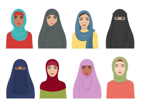 Avatare muslimischer Mädchen. Islamische Mode für Frauen iranisch türkisch und arabisch Kopftuch Hidjab in verschiedenen Arten. Vektor flache arabische Frau. Illustration von muslimischer Kleidung, Kopfbedeckung und Kopfschmuck Vektorgrafik