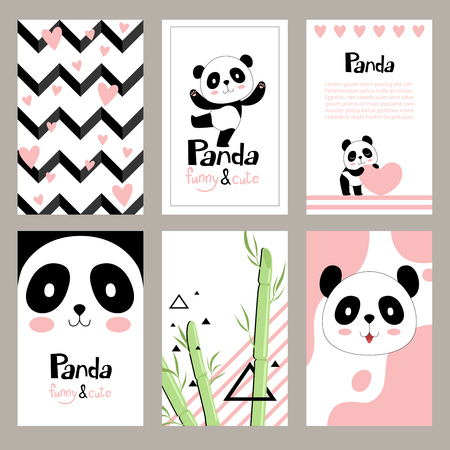 Pandas invitation cards. Newborn cute animals of chinese bear holiday vector placard design templates for kids. Character cartoon wildlife happy panda illustration Banque d'images