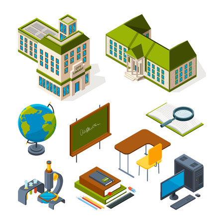 School and education isometric. Back to school 3d symbols. Vector blackboard and globe, desk and computer, microscope amd book illustration