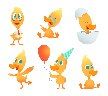 Illustrations of funny duck. Vector cartoon animals in action poses. Duck bird pose, yellow character duckling collection Illustration