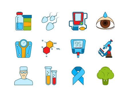 Medical icon set. Various symbols of diabetic. Vector instrument equipment, glucose medical glucometer measurement illustration Stock Illustratie