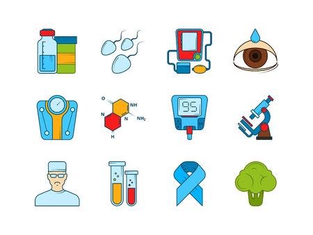 Medical icon set. Various symbols of diabetic. Vector instrument equipment, glucose medical glucometer measurement illustration Stock Illustratie
