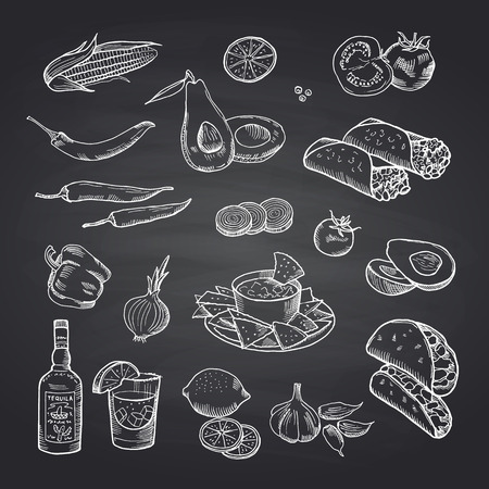 Vector sketched mexican food elements set on black chalkboard. Illustration of mexican food, burrito and taco drawing Vector Illustration