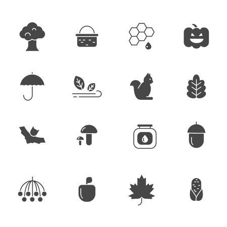 Autumn symbols. Vector monochrome icons set of autumn. illustration of plant and basket, rowan and tree