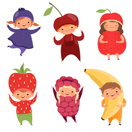 Fruits costumes. Carnival clothes for children. Funny kids in fruit fancy dresses wearing on white, vector illustration