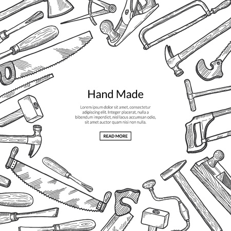 Vector hand drawn carpentry elements background with place for text illustration. Illustration of equipment carpentry tools, background hammer and hardware instrument
