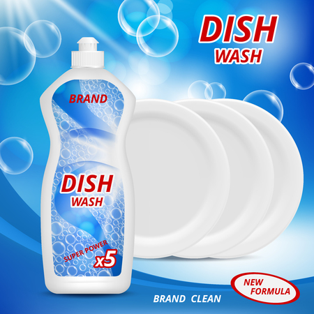 Liquid detergent for washing dishes. Advertizing poster with illustrations of various dishware. Detergent for dish clean, wash kitchen advertising vector 向量圖像