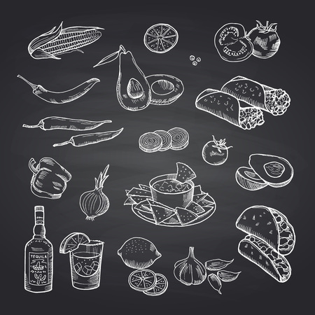 Vector sketched mexican food elements set on black chalkboard. Illustration of mexican food, burrito and taco drawing