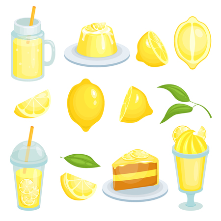 Lemon food. Cakes, lemonade and others yellow foods with lemons ingredient. Vector illustrations in cartoon style, fresh food with lemon, pie and juicy