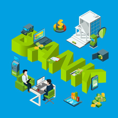 Vector isometric money flow in bank icons infographic concept illustration. Finance money bank, banking 3d business Stock Illustratie