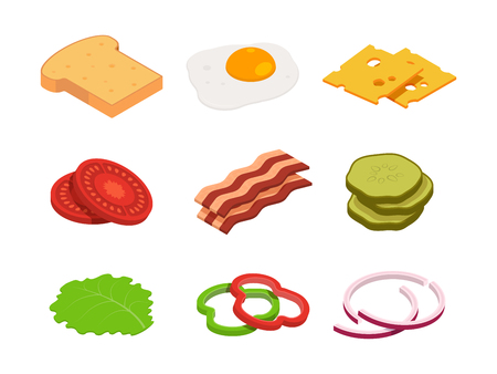 Sandwich isometric. Constructor of food with various ingredients. Sandwich food, cheese and tomato for hamburger, lunch bread for cheeseburger illustration 写真素材 - 107712295