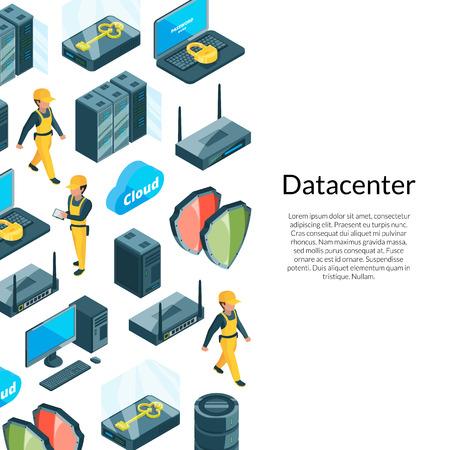 Sistema elettronico di vettore del fondo delle icone del centro dati con il posto per l'illustrazione del testo Vettoriali
